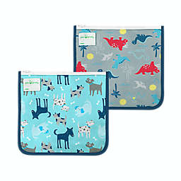 green sprouts® 2-Pack Reusable Insulated Sandwich Bags in Aqua Dogs