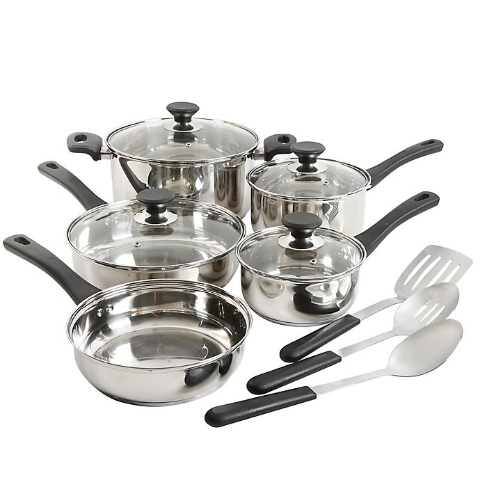 Alternate image 1 for Simply Essential™ 12-Piece Stainless Steel Cookware Set