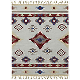 Araceli Fae 8' x 10' Handcrafted Area Rug in Red/Ivory