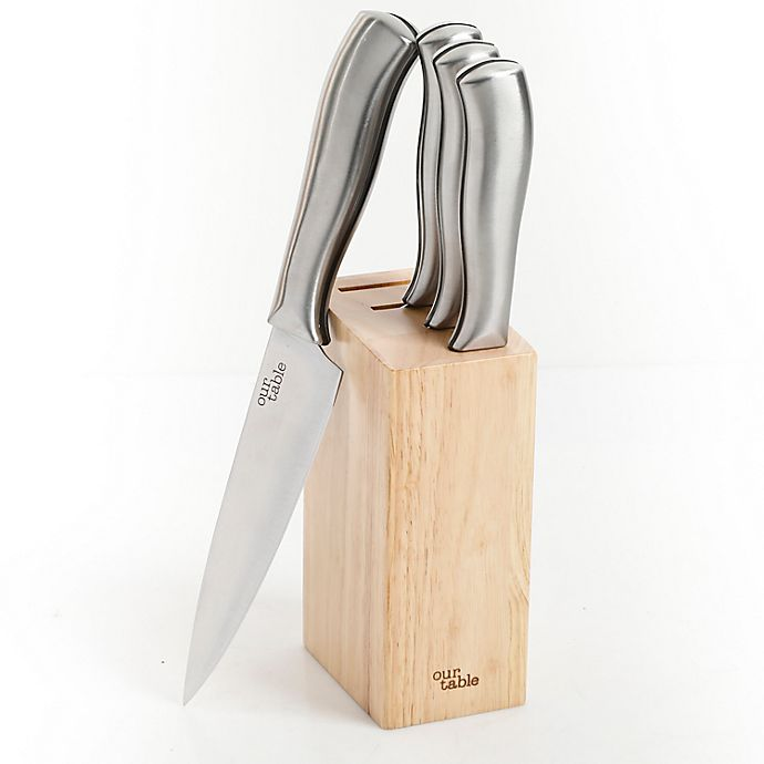 Alternate image 1 for Our Table™ 5-Piece Stainless Steel Prep Knife Block Set