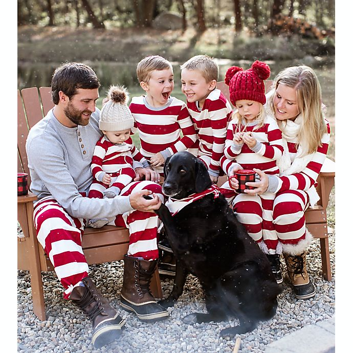 Alternate image 1 for Burt's Bees Baby® Rugby Stripe Organic Cotton Holiday Family Jammies Collection