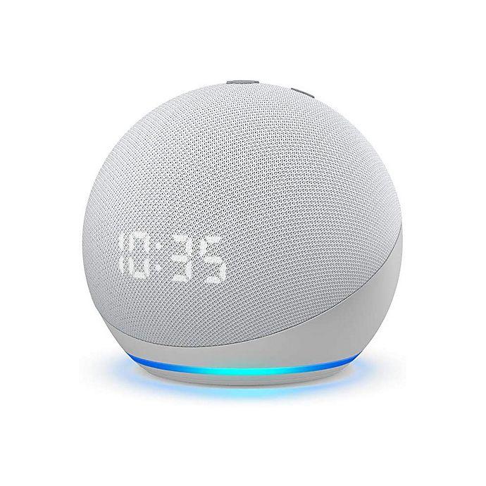 Alternate image 1 for Amazon Echo Dot Generation 4 with Clock in Glacier White