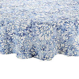 Breeze Scroll Round Indoor/Outdoor Tablecloth in Blue