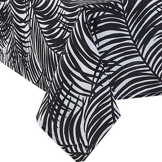 Alternate image 1 for Kauai 60-Inch x 84-Inch Indoor/Outdoor Tablecloth with Umbrella Hole in Black