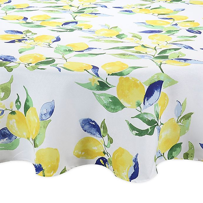 Alternate image 1 for Lemon Vines Round Indoor/Outdoor Tablecloth