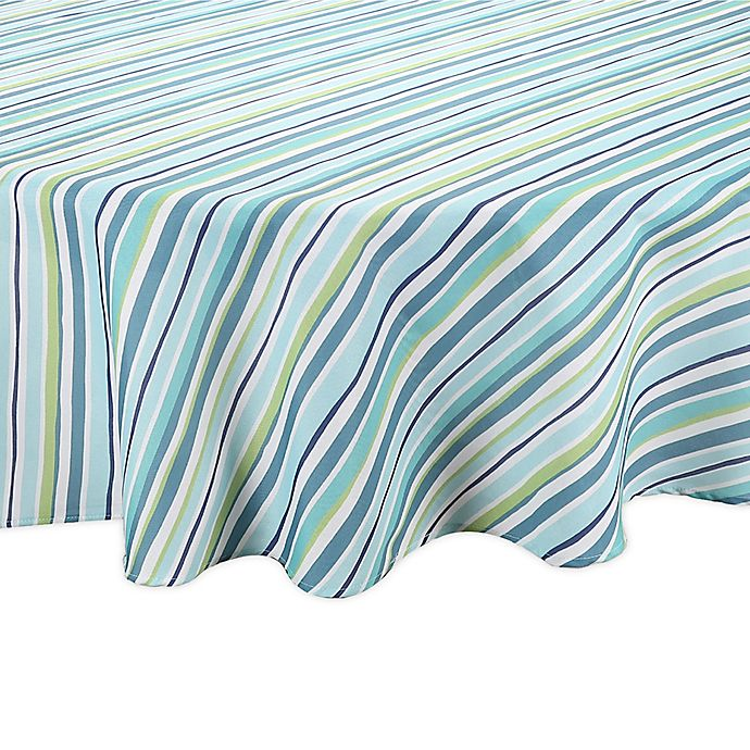 Alternate image 1 for Summer Stripe Round Indoor/Outdoor Tablecloth in Blue