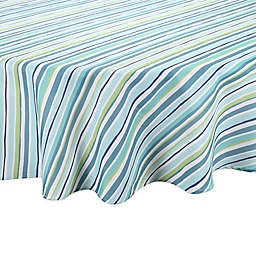 Summer Stripe Round Indoor/Outdoor Tablecloth in Blue