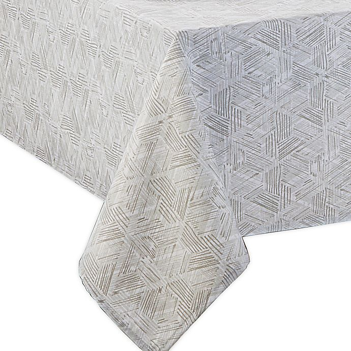 Alternate image 1 for Textured Diamond Indoor/Outdoor Tablecloth in Neutral