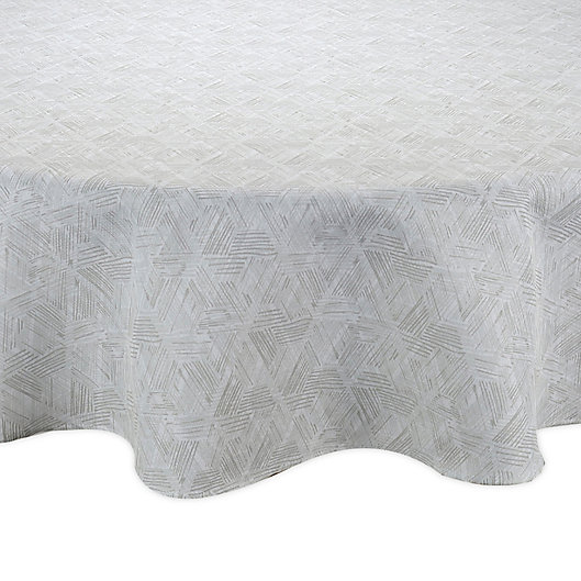Alternate image 1 for Textured Diamond 70-Inch Round Indoor/Outdoor Tablecloth in Neutral