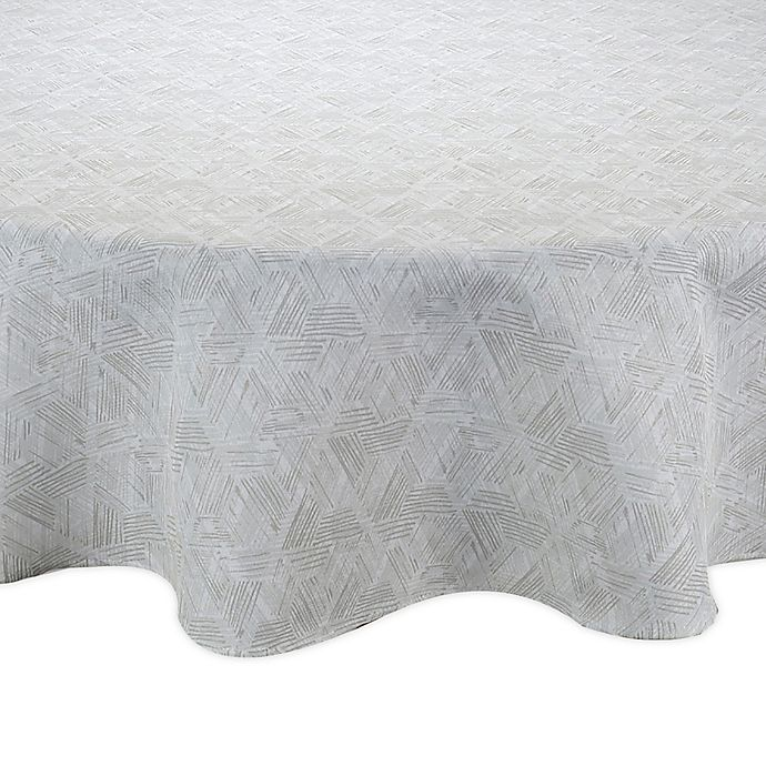 Alternate image 1 for Textured Diamond Round Indoor/Outdoor Tablecloth in Neutral