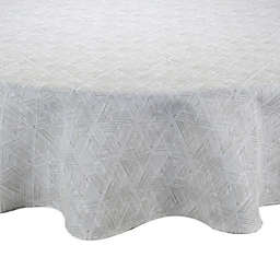 Textured Diamond Round Indoor/Outdoor Tablecloth in Neutral