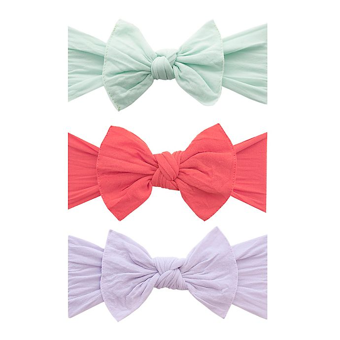 Alternate image 1 for Baby Bling 3-Pack Knot Bow Headbands in Seafoam, Salmon, and Light Orchid