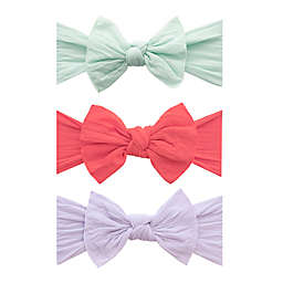 Baby Bling 3-Pack Knot Bow Headbands in Seafoam, Salmon, and Light Orchid