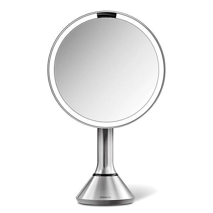 Alternate image 1 for simplehuman® 8-Inch Touch Control Sensor Mirror in Brushed Stainless Steel