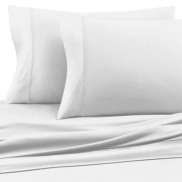 Alternate image 1 for Clean Start Microfiber Solid Queen Sheet Set in White