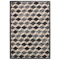 Liora Manné Fresco Cubes 3'3 x 4'11 Indoor/Outdoor Accent Rug in Aqua
