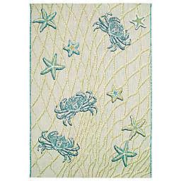 """Liora Manne Portofino Crab Net 7'10"""" x 9'10"""" Indoor/Outdoor Rug in Aqua"""
