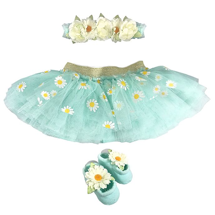Alternate image 1 for Toby Fairy™ Newborn 2-Piece Daisies Tutu and Headband Set in Frost Mint