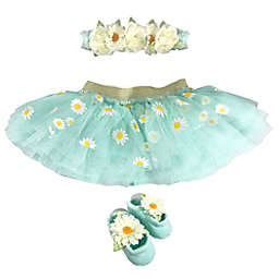 Toby Fairy™ Newborn 2-Piece Daisies Tutu and Headband Set in Frost Mint