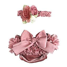 Toby Fairy™ Newborn 2-Piece Rosettes Diaper Cover and Headband Set in Rose Quartz
