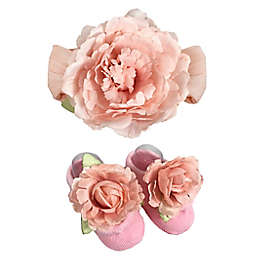 Toby Fairy™ 2-Piece Rosette Floral Headband and Mary Jane Sock Set in Pink