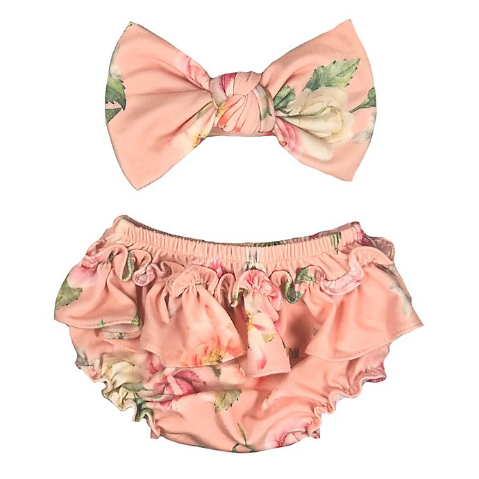 Alternate image 1 for Toby Fairy™ Newborn 2-Piece Marabelle Diaper Cover and Headband Set in Desert Rose