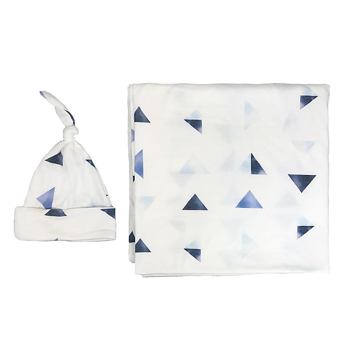 Alternate image 1 for Toby Fairy™ 2-Piece Geo Knot Hat and Wrap Set in White/Blue