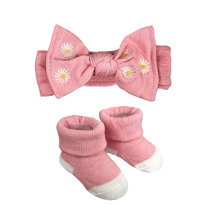 Alternate image 1 for NYGB™ Newborn 2-Piece Floral Embroidery Bootie and Headband Set in Pink