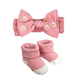 NYGB™ Newborn 2-Piece Floral Embroidery Bootie and Headband Set in Pink