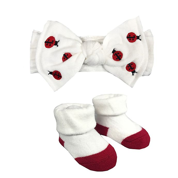 Alternate image 1 for NYGB™ Newborn 2-Piece Ladybug Bootie and Headband Set in White