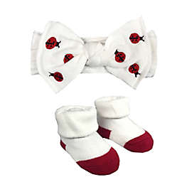 NYGB™ Newborn 2-Piece Ladybug Bootie and Headband Set in White