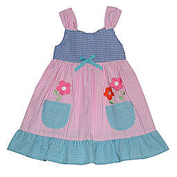 Blueberi Boulevard Floral Gingham Sundress in Pink/Blue