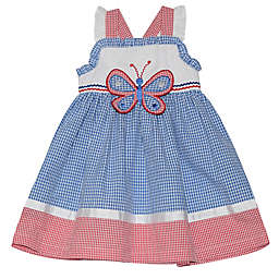 Blueberri Boulevard Gingham Butterfly Dress in Blue/Red
