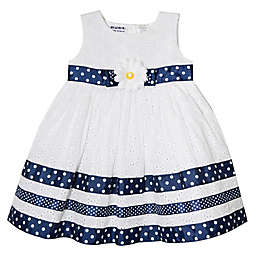 Blueberi Boulevard Nautical Eyelet Dress in White/Navy