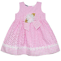Blueberi Boulevard Allover Eyelet Dress with Gingham Trim in Pink