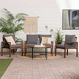 Forest Gate Rockford Modern 4-Piece Acacia Wood Patio Conversation Set in Walnut with Grey Cushions