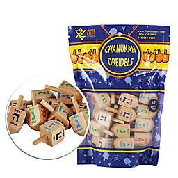 Zion Judaica® 30-Pack Medium Natural Wood Hanukkah Dreidels with Hebrew & English