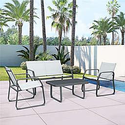 BoyelLiving Outdoor 4-Piece Patio Conversation Set in Grey