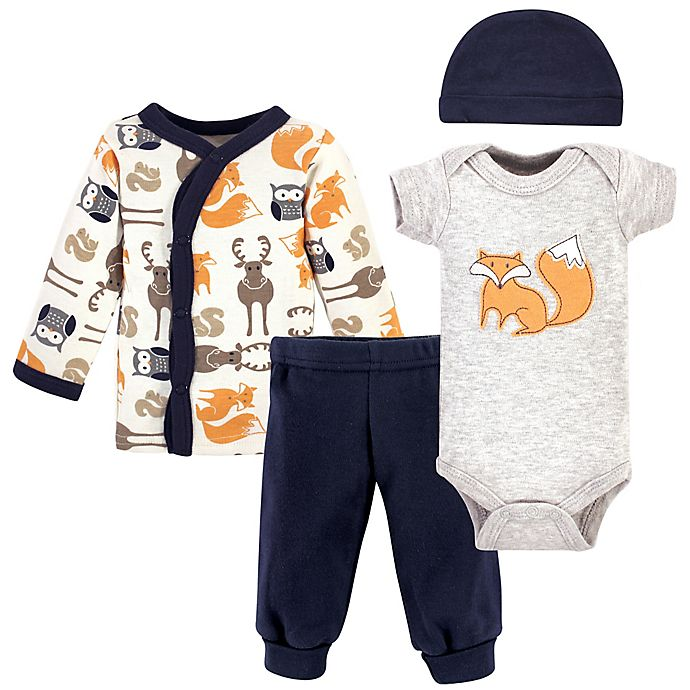 Alternate image 1 for Hudson Baby® Preemie 4-Piece Fox Layette Set in Orange