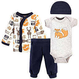 Hudson Baby® Preemie 4-Piece Fox Layette Set in Orange