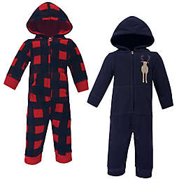 Hudson Baby® 2-Pack Moose Fleece Jumpsuits in Blue
