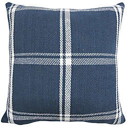 Americana Plaid Square Throw Pillow in Navy/White