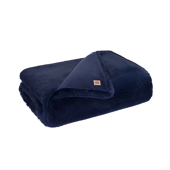 Alternate image 1 for UGG® Mammoth Faux Fur Throw Blanket in Navy