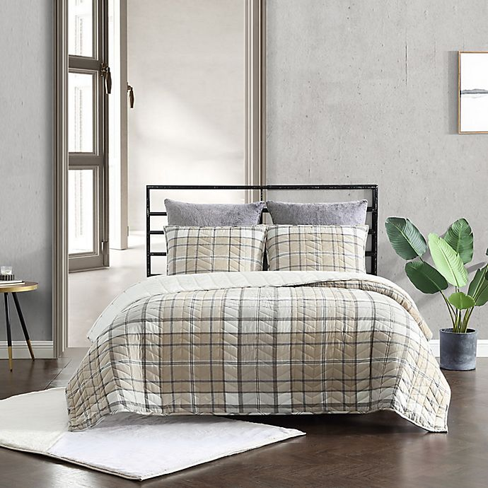 Alternate image 1 for UGG® Beacon 2-Piece Twin Quilt Set in Oatmeal Plaid