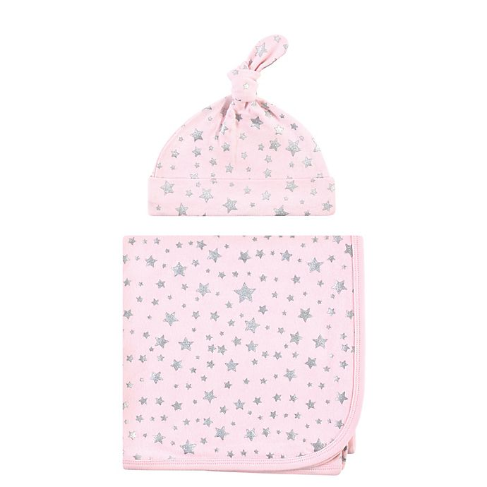Alternate image 1 for Hudson Baby® Star Swaddle Blanket and Cap in Silver/Pink