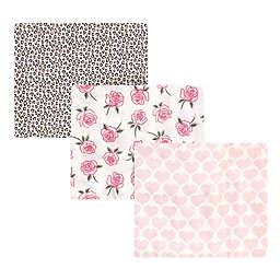 Little Treasure® 3-Pack Rose Cotton Muslin Swaddle Blankets