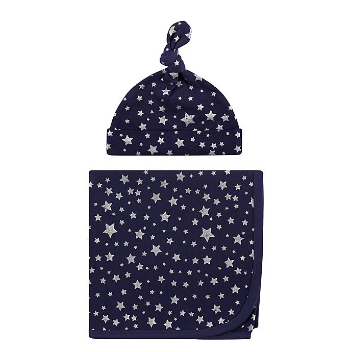 Alternate image 1 for Hudson Baby® Stars Swaddle Blanket and Cap in Silver/Navy