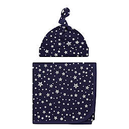 Hudson Baby® Stars Swaddle Blanket and Cap in Silver/Navy