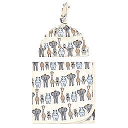 Hudson Baby® 2-Piece Royal Safari Swaddle Blanket and Cap Set in Royal