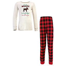 Hudson Baby® Child's Size 6 Moose 2-Piece Cotton Pajama Set in Red
